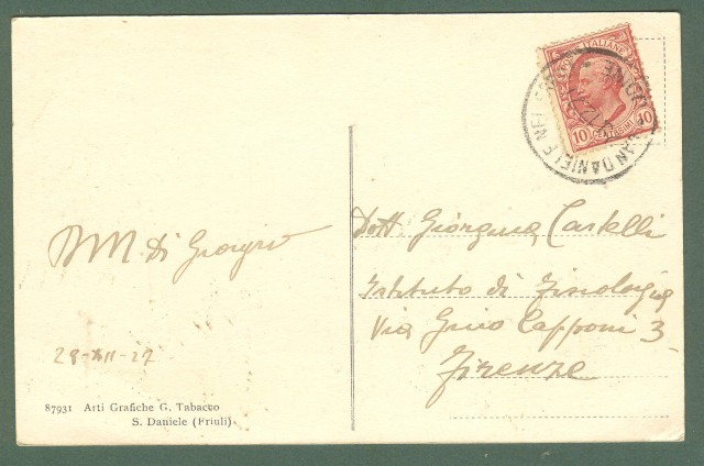 Friuli. S. DANIELE DEL FRIULI, Udine. Piazza V. Emanuele. Cartolina d'epoca viaggiata nel 1917.