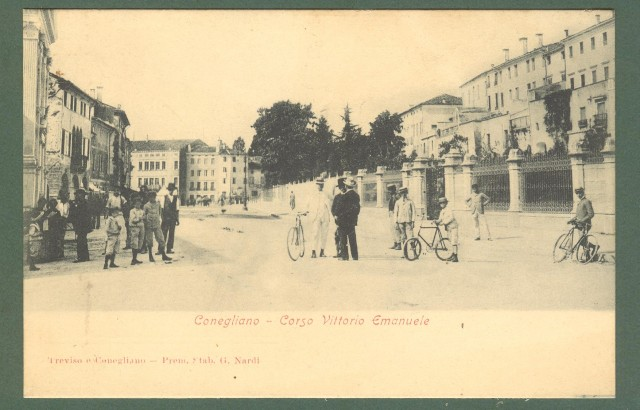 Veneto. CONEGLIANO, Treviso. Corso Vittorio Emanuele. Cartolina d'epoca non viaggiata, inizio 1900.