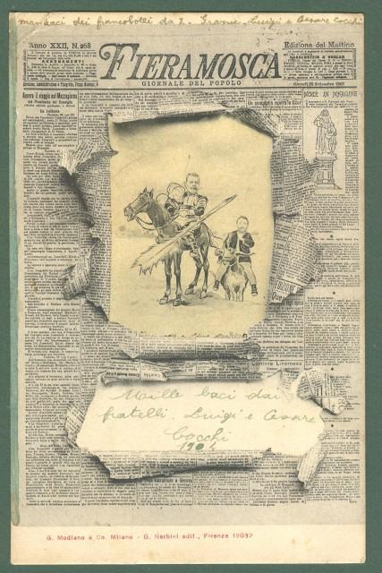 FIERAMOSCA, giornale del popolo. Cartolina d'epoca viaggiata nel 1904.