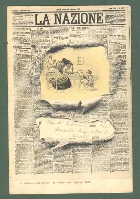 LA NAZIONE, Giornale di Firenze. cartolina d'epoca viaggiata nel 1904.