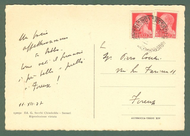 Sardegna. SASSARI. Regio Liceo. Cartolina d'epoca viaggiata nel 1937.