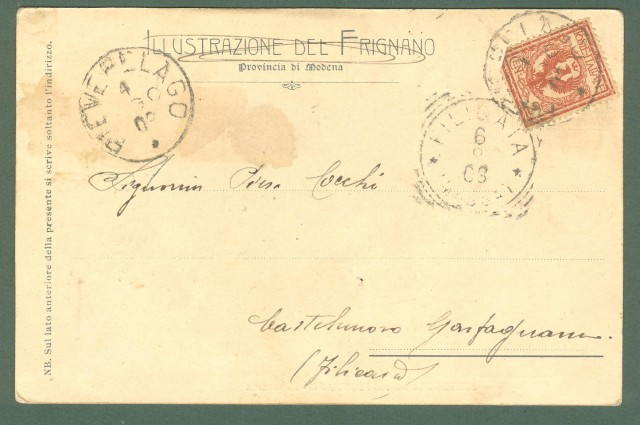 Emilia Romagna. PIEVEPELAGO, Modena. Panorama. Cartolina d'epoca viaggiata nel 1903.