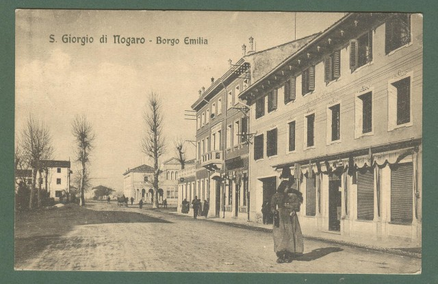 Friuli. S. GIORGIO DI NAGARO, Udine. Borgo Emilia. Cartolina d'epoca viaggiata nel 1917.
