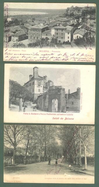Lazio. BOLSENA, Viterbo. Tre cartoline d'epoca viaggiate nel 1907.