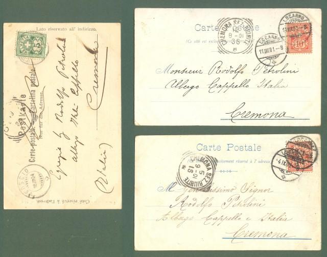 Estero. SVIZZERA, LOCARNO. Tre cartoline d'epoca viaggiate tra il 1901 e il 1904