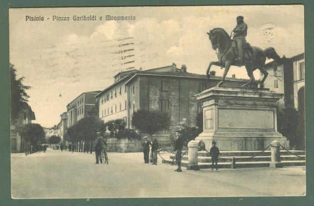 Toscana. PISTOIA. Piazza Garibaldi. Cartolina d'epoca viaggiata nel 1938.