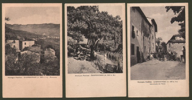 Toscana. CAMPORIPANO, montagna pistoiese (Pistoia). 3 cartoline d'epoca.