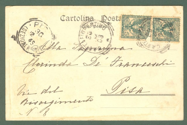 Toscana. CASTELFIORENTINO, Firenze. Pieve S. Pietro a Coiano. Cartolina d'epoca viaggiata nel 1903.