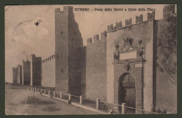 Lazio. VITERBO. Porta della Verità e Cinta delle Mura. Cartolina d'epoca viaggiata nel 1916.