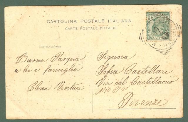 Toscana. MONTESPERTOLI, Firenze. Piazza Umberto I. Cartolina d'epoca viaggiata nel 1909.