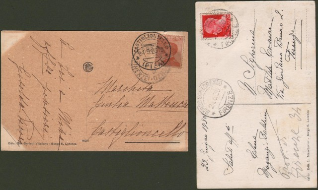 Toscana. BORGO SAN LORENZO, Mugello (Firenze). Due cartoline viaggiate nel 1928 e 1930.