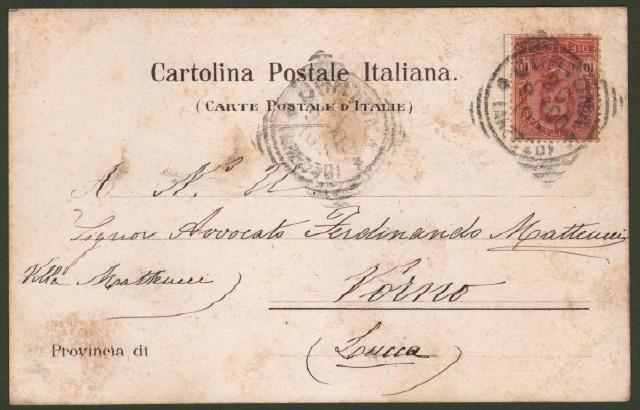 Toscana. CORTONA, Arezzo. Palazzo Comunale. Cartolina d'epoca viaggiata nel 1900.