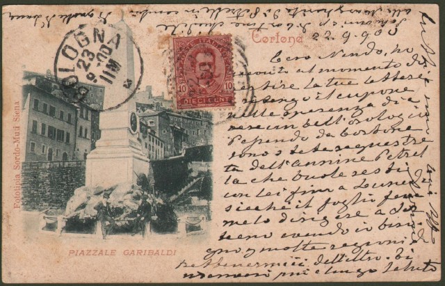 Toscana. CORTONA, Arezzo. Piazzale Garibaldi. Cartolina d'epoca viaggiata nel 1900.