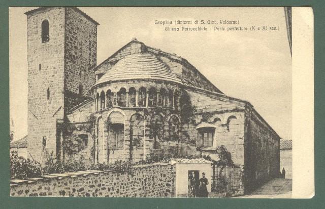 Toscana. GROPINO, S. GIOVANNI VALDARNO, Arezzo. Chiesa parrocchiale. Cartolina d'epoca viaggiata anni 1930.