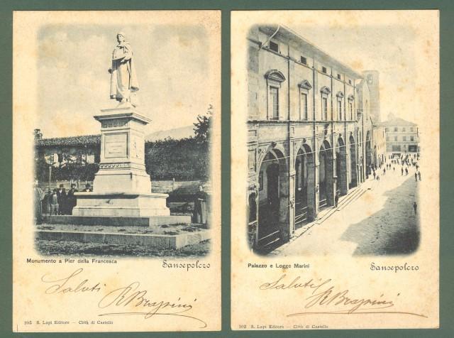 Toscana. SAN SEPOLCRO, Arezzo. Due cartoline d'epoca viaggiate nel 1900.