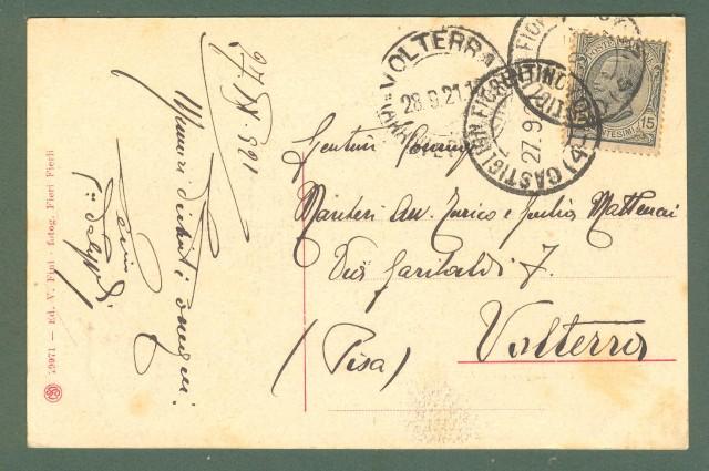 Toscana. CASTIGLION FIORENTINO, Arezzo. Panorama. Cartolina d'epoca viaggiata nel 1921.