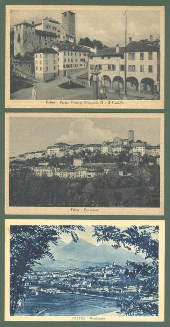Veneto. FELTRE, Belluno. Tre cartoline d'epoca non viaggiate, circa 1940.