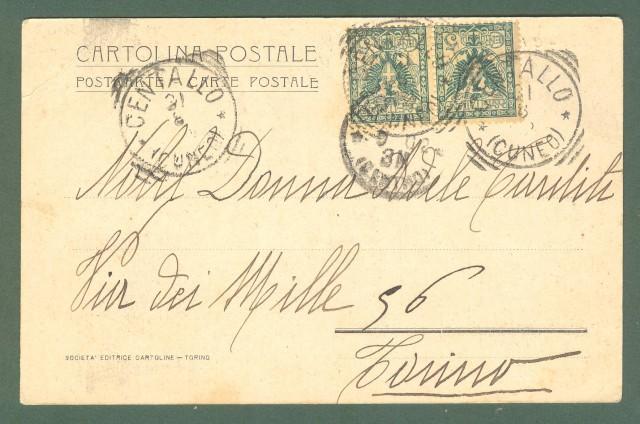 Piemonte. CENTALLO, Cuneo. Chiesa parrocchiale. Cartolina d'epoca viaggiata inizio 1900.