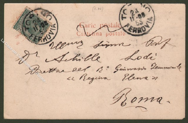 Piemonte. MORETTA, Cuneo. Chiesa e Castello. Cartolina d'epoca viaggiata nel 1908.