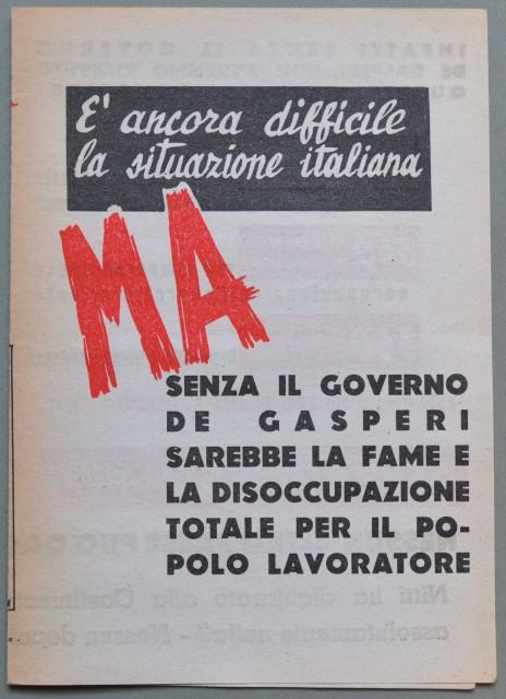 VOLANTINO POLITICO dell'immediato dopoguerra (circa 1947) a favore del governo De gasperi e del piano Marshall.