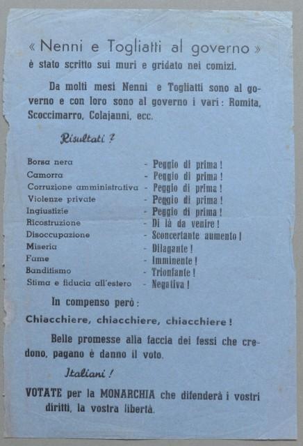 VOLANTINO POLITICO 1948 di propaganda elettorale NENNI E TOGLIATTI AL GOVERNO.