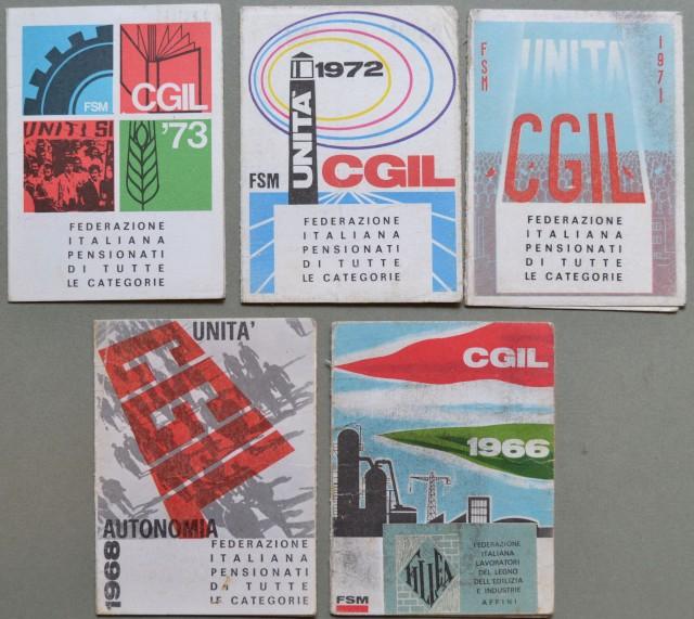 TESSERE SINDACALI. Insieme di 5 pezzi tessere CGIL anni 1966, 1968, 1971, 1973.