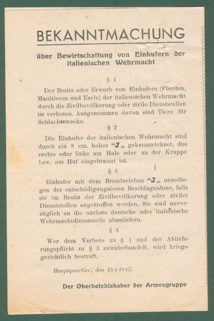 REPUBBLICA SOCIALE ITALIANA. Volantino bilingue riguardante gli equini delle Forze Armate Italiane cm 26x20,5.