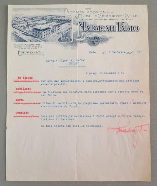 Lombardia. MEDA. MILANO. Vecchia fattura anno 1937. MOBILI MALGRATI.