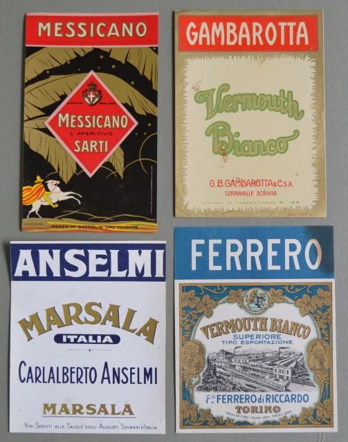 VINI. APERITIVI. VERMOUTH. Quattro etichette di bottiglie. Circa 1930.