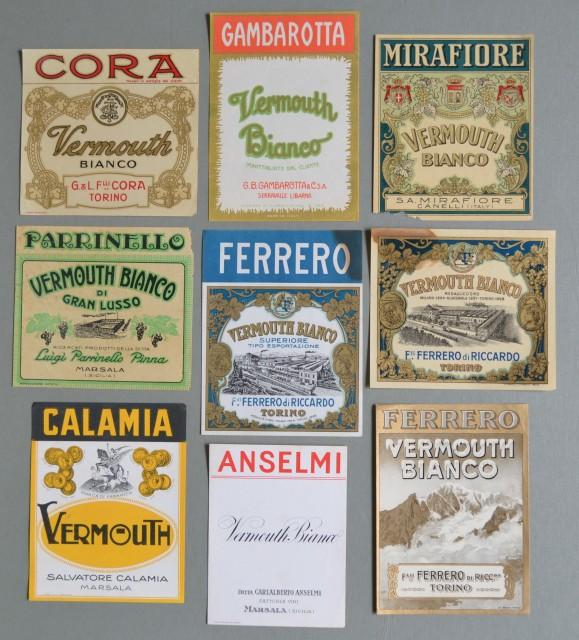 VERMOUTH. Nove etichette per bottiglie. Anni '20/'30.