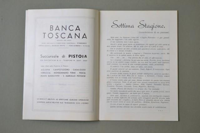 LIRICA, PISTOIA. Città di Pistoia, 7'° Stagione Lirica, anno 1954. La Bohà¨me, Cavalleria Rusticana, Pagliacci. Numero Unico illustrato.