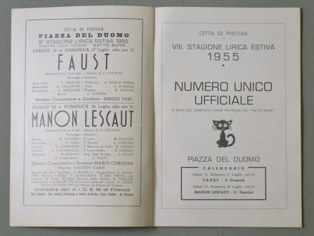 LIRICA, PISTOIA. Città di Pistoia, 8'° Stagione Lirica, anno 1955. Faust e Manon Lescaut. Numero Unico illustrato.