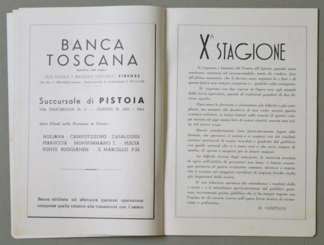 LIRICA, PISTOIA. Città di Pistoia, 10'° Stagione Lirica, anno 1957. Tosca e Aida. Numero Unico illustrato.