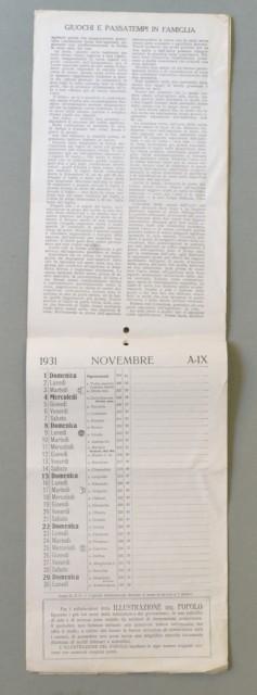 CALENDARIO anno 1931 pubblicitario della gazzetta del Popolo. E' composto da 14 fogli. Completo.