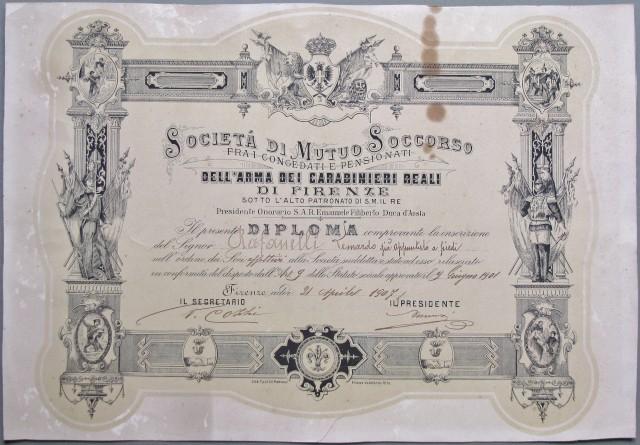 CARABINIERI. Società di Mutuo Soccorso fra i congedati e pensionati dei Carabinieri Reali di Firenze. Diploma del 1907