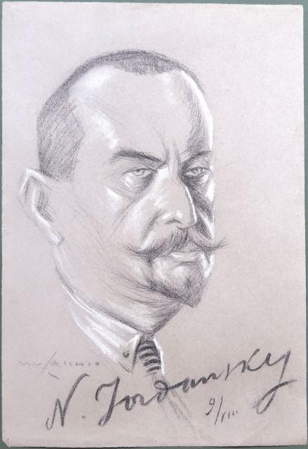 JORDANSKY N.. Ambasciatore russo a Roma. Partecipò, come inviato del Governo Sovietico, al Congresso di Losanna (24 luglio 1923) per l''accordo relativo alla Convenzione degli Stretti. Carboncino e biacca su cartoncino. Firmato Musacchio e con la firm