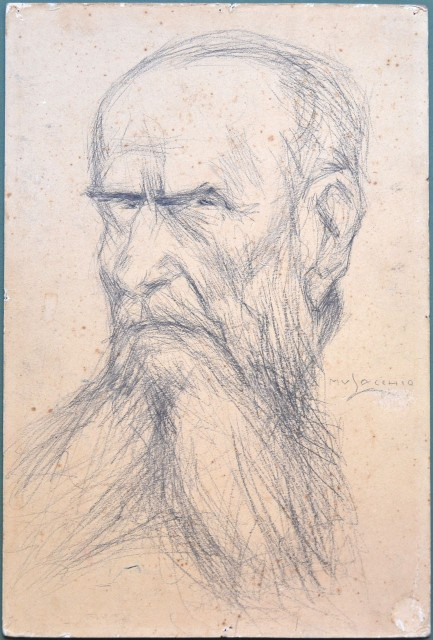 QUARTA Oronzo (Copertino, Lecce, 1840 '– Roma 1934). Magistrato e uomo politico, Senatore del Regno dal 1904. Carboncino su cartone. Firmato Musacchio.