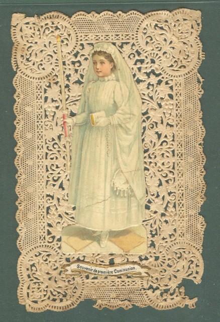 SANTINO TRAFORATO. Souvenir da premiere Communion, fine 1800.