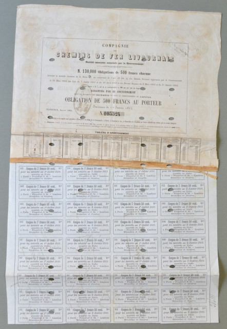 STRADE FERRATE LIVORNESI. Obbligazione da lire 500 del 1862. Unite varie cedole.