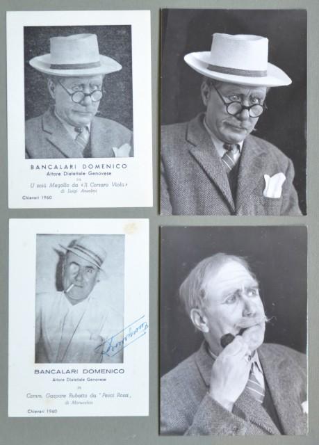 TEATRO DIALETTALE GENOVESE. Domenico Bancalari. 8 foto (di cui 2 autografate) e foto di Piero Maffeo, con dedica all'amico Luigi Capurro.