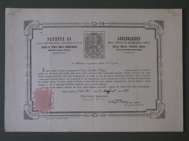 Patenti di aggregazione alla Venerabile Congregazione degli Artisti in Reggio Emilia