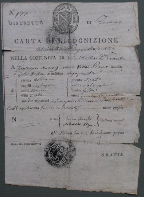 CARTA DI RICOGNIZIONE. Documento a stampa completato a mano del 1808