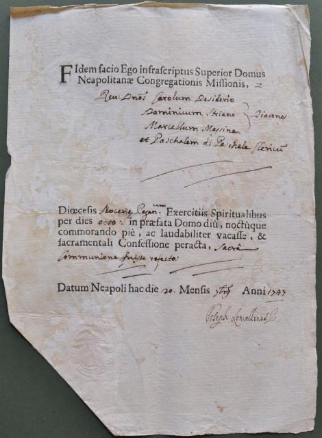 FEDE del 20 settembre 1747 rilasciata in Napoli.