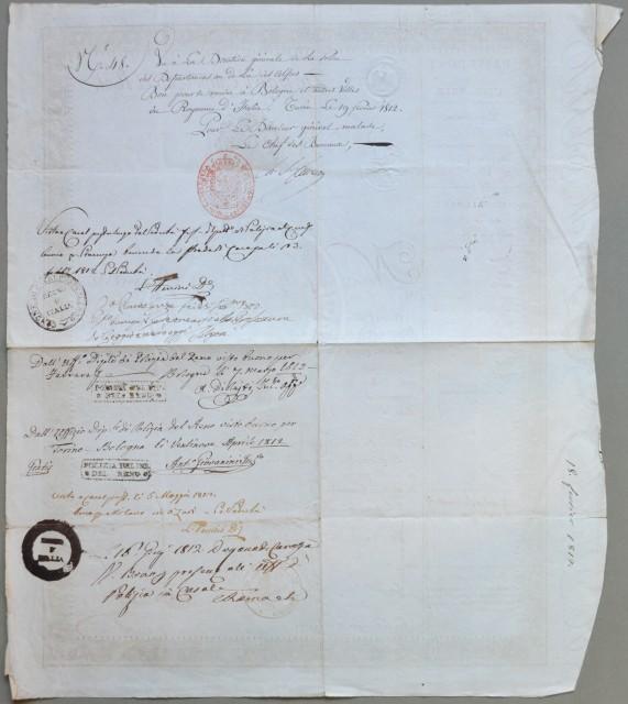 PASSAPORTO NAPOLEONICO. Documento di cm 33x40 rilasciato in Torino il 18 febbraio 1812 a firma del generale napoleonico Alex Lameth.