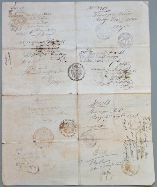PASSAPORTO. Governo Pontificio. Documento di cm 32x39 rilasciato a Forlì il 22 giugno 1844.