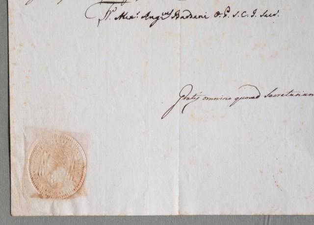 LIBRI PROIBITI. Documento del 1828 contenente richiesta e relativa concessione per ritenere e leggere libri proibiti