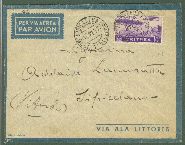 Africa Orientale Italiana. Aerogramma del 16.11.1937