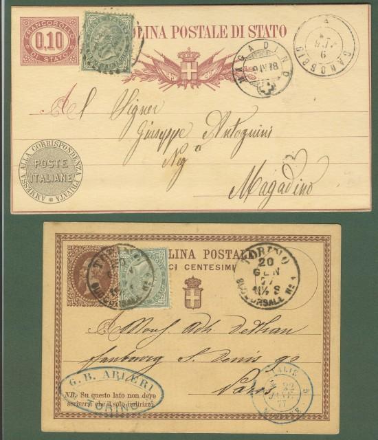 Regno. Due cartoline postali da cent. 10