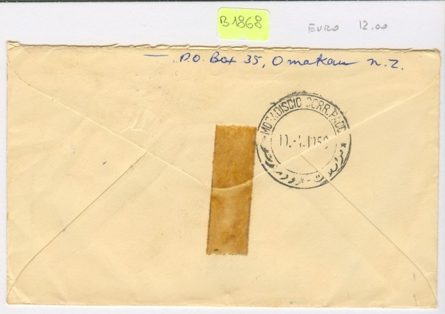 Nuova Zelanda. Lettera del 1956 per la Somalia.
