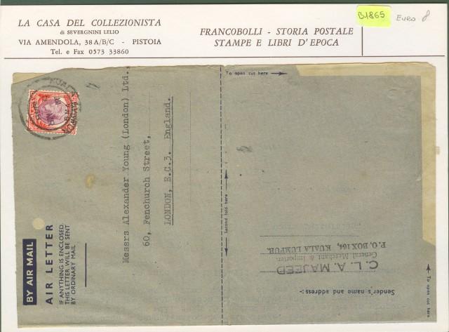 Malesia - Occupazione militare. Lettera del 1948 per l'Inghilterra